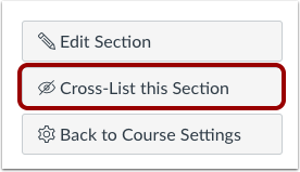 cross-list this section button highlighted
