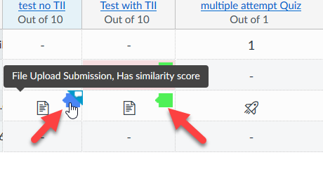 arrows pointing to the similarity report icon in gradebook