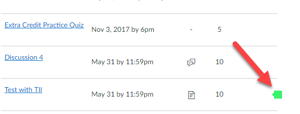 an arrow pointing to the originality report icon in gradebook student view