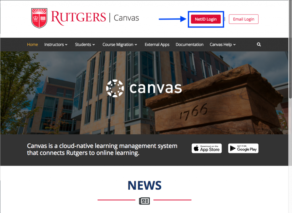Canvas homepage with NetID login highlighted