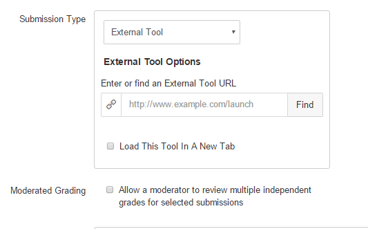Submission Type: External Tool. Click Find.