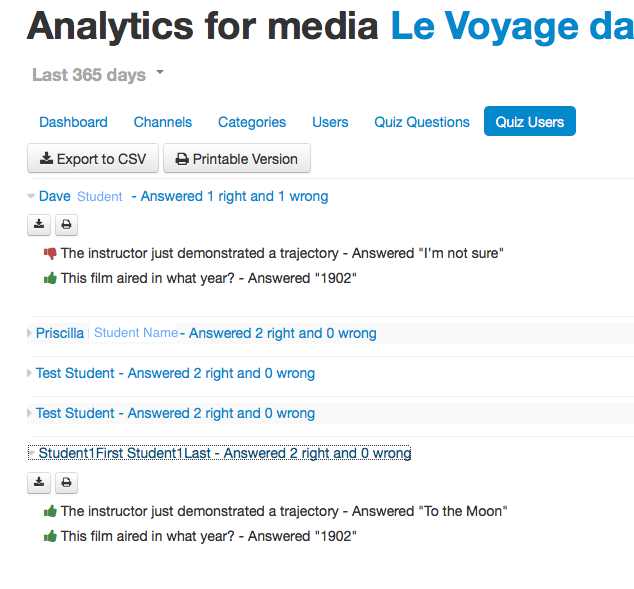 In-video quiz analytics screenshot from Kaltura MediaSpace. Student name is listed with each question and the student response.