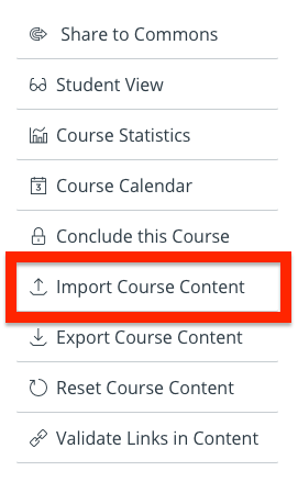 Identifying the import course content link in the course settings