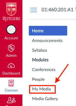 an arrow pointing to the My Media area in the navigation menu