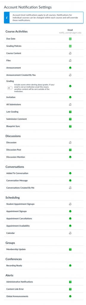 Notification Settings menu options