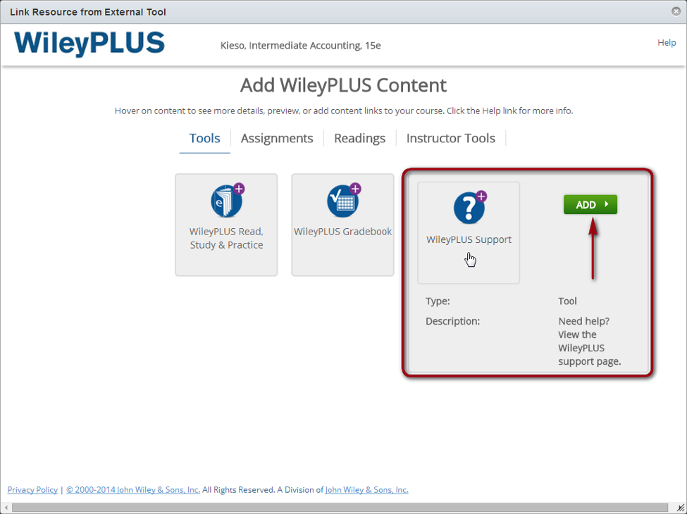 add wileyPLUS content button highlighted