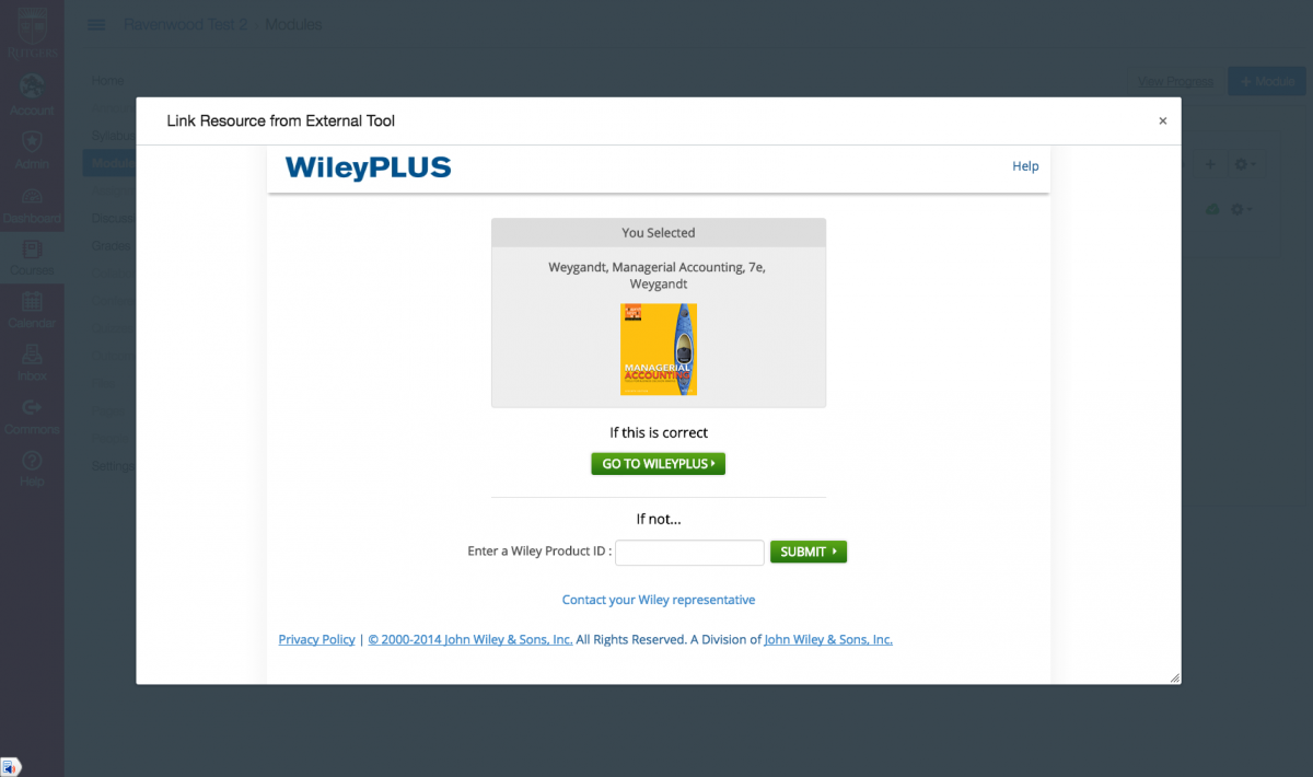display of a wiley textbook that matches the input product ID