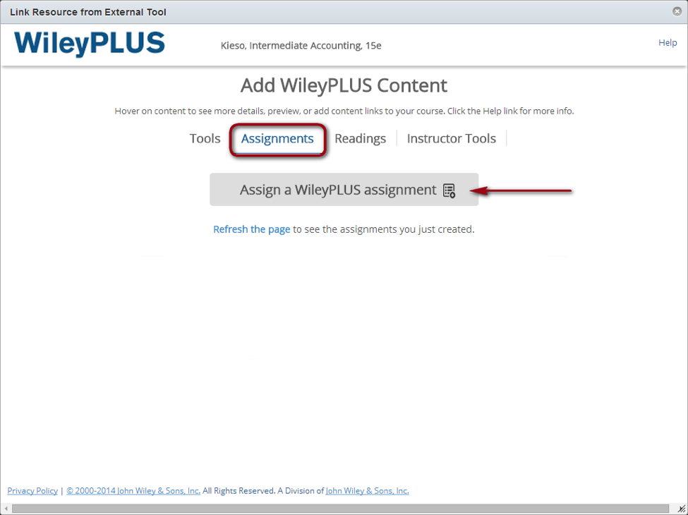 adding content on WileyPLUS site with highlight around assignments