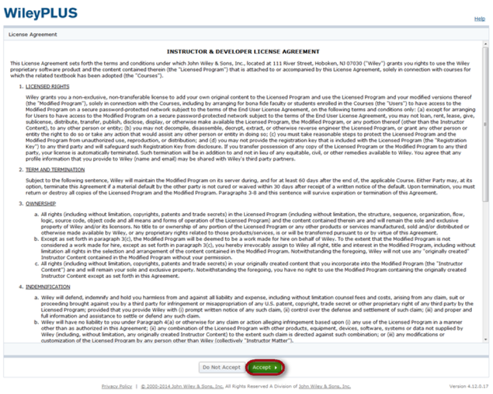 wileyplus user agreement with accept button highlighted