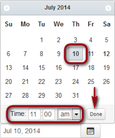 calendar display with selected date and 'done' button highlighted