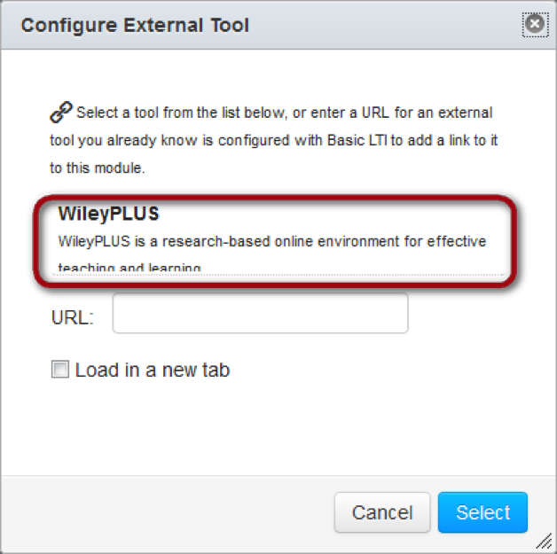 Wileyplus in the configure external tools page