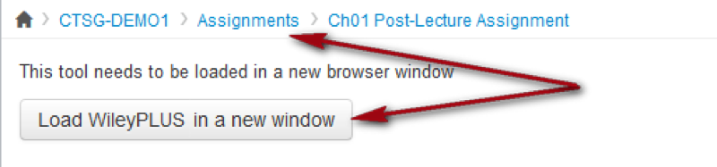 arrows pointing to button to load wileyplus in a new window and to assignments navigation link