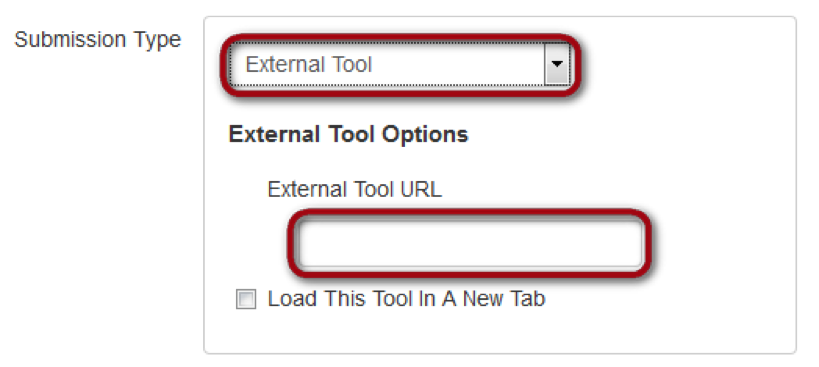 submission type selection with external link and tools highlighted
