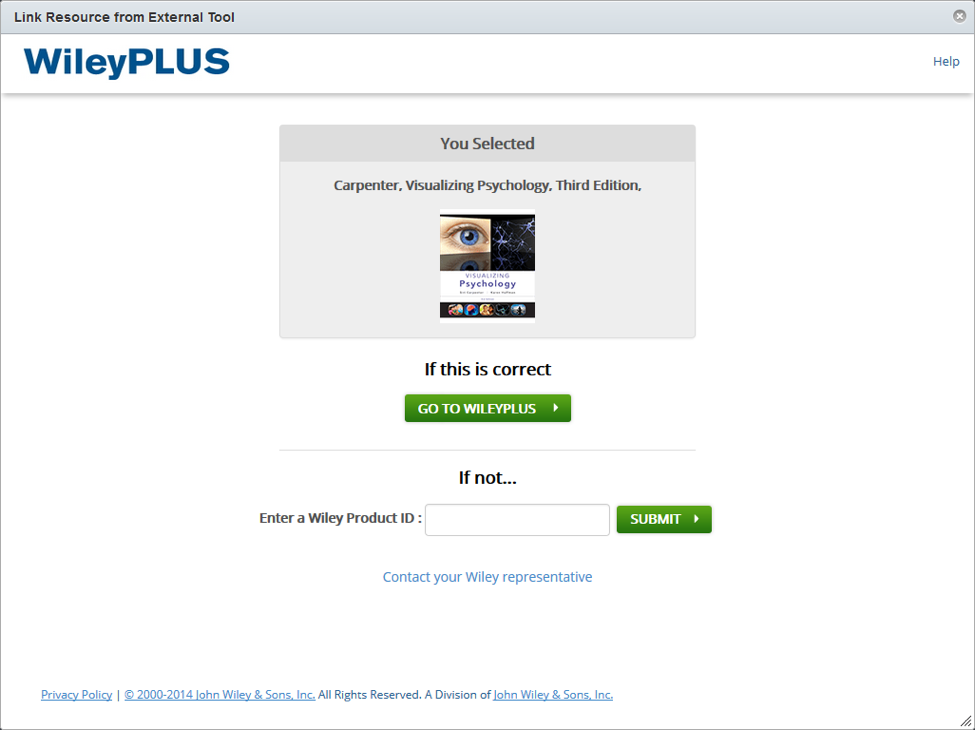 wileyplus verification screen with selected product