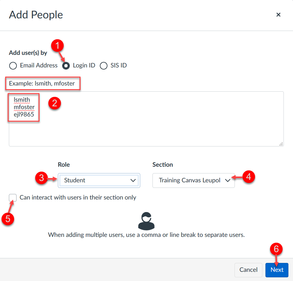 Highlighted guide on how to add people in Canvas illustrating the steps below