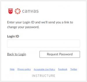 Change Canvas password Typing screenshot