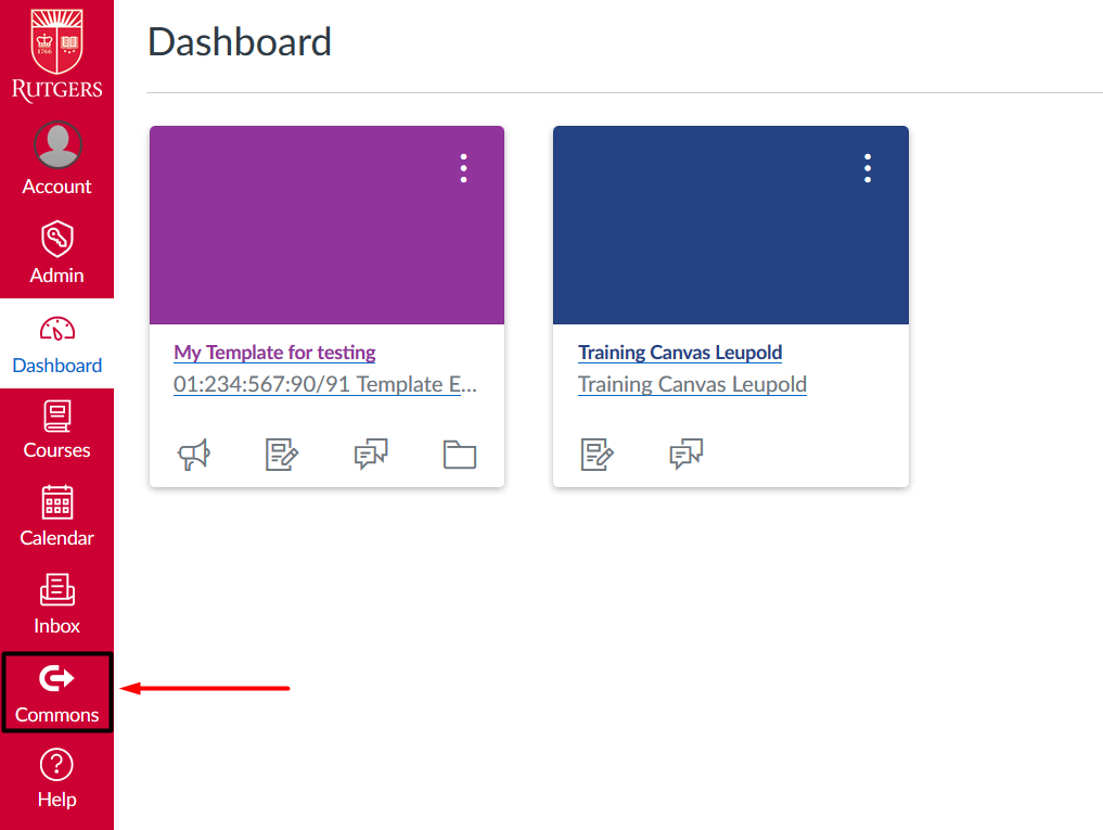 canvas dashboard with commons highlighted on navigation bar