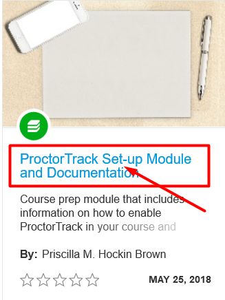 proctortrack setup module and documentation title highlighted