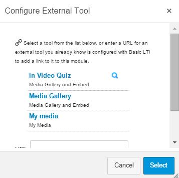 Configure External Tool: Select In Video Quiz