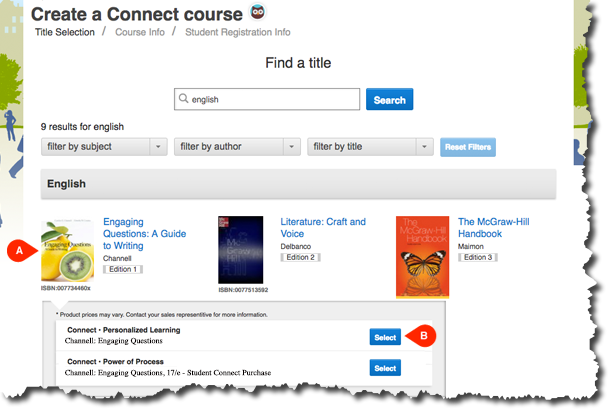Create a Connect Course by Selecting a Title