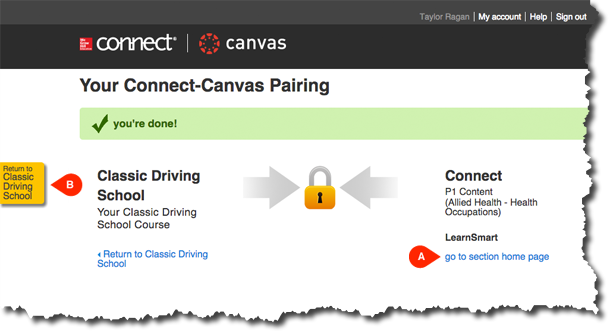 Pairing Confirmation Page with Links to Go back to Canvas or Continue with Connect