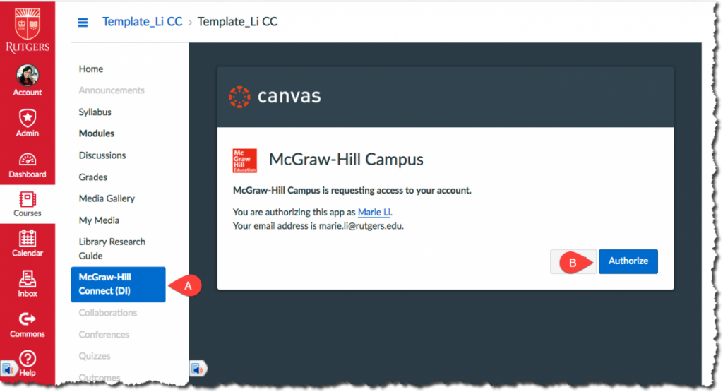 Authorize McGraw-Hill Campus First Time in Canvas
