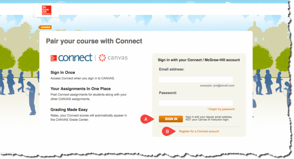 McGraw-Hill Connect Login Page