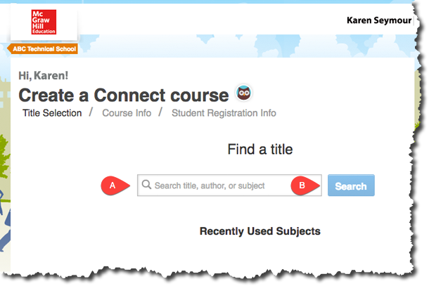Create a Connect Course by Searching Title, Author and Subject