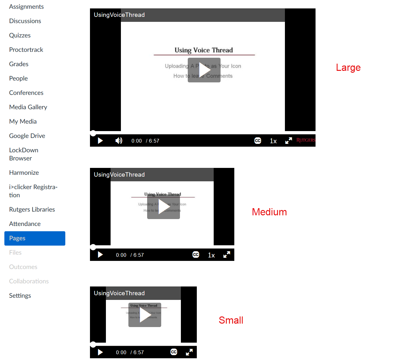 comparison of small, medium, and large embed sizes