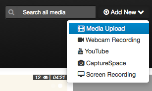 "selecting ""media upload"" in add new dropdown menu"