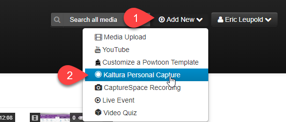 Kaltura - Personal Capture - Canvas