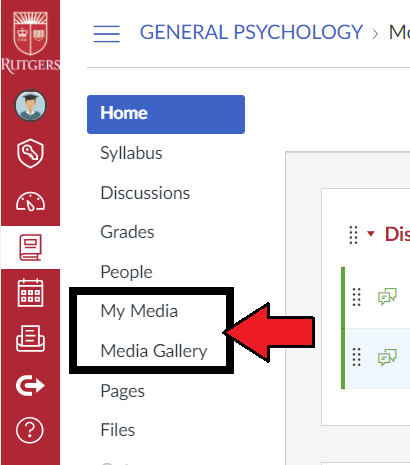 "canvas navigation bar with ""my media"" and ""media gallery"" buttons highlighted"