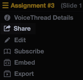 share button selected on voicethread menu