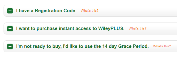 Registration Code and Purchasing Options for Students with Wiley Plus