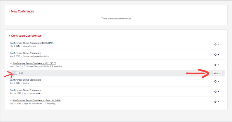 Canvas Conferences page with arrows to identify the recordings link