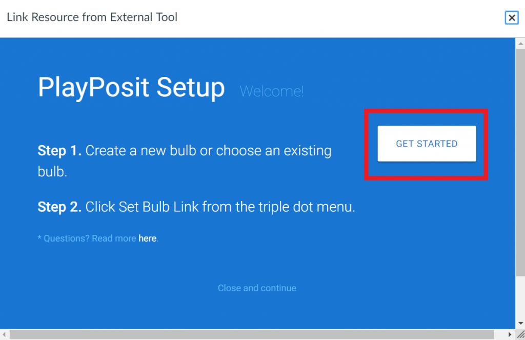 Link External Tool window with Playposit in frame