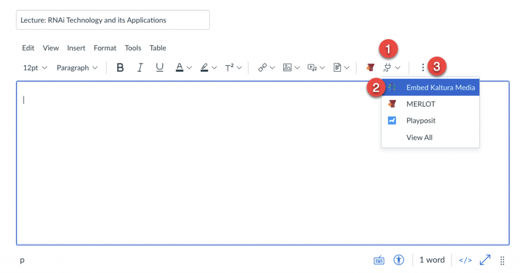 Canvas rich content editor with Apps menu expanded and Embed Kaltura Media highlighted
