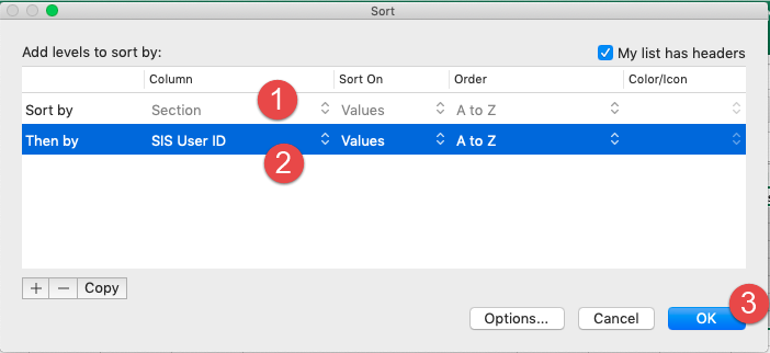 MS Excel custom sort by Section ID and SIS User ID