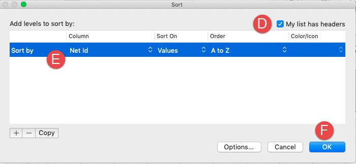 Custom sort dialog