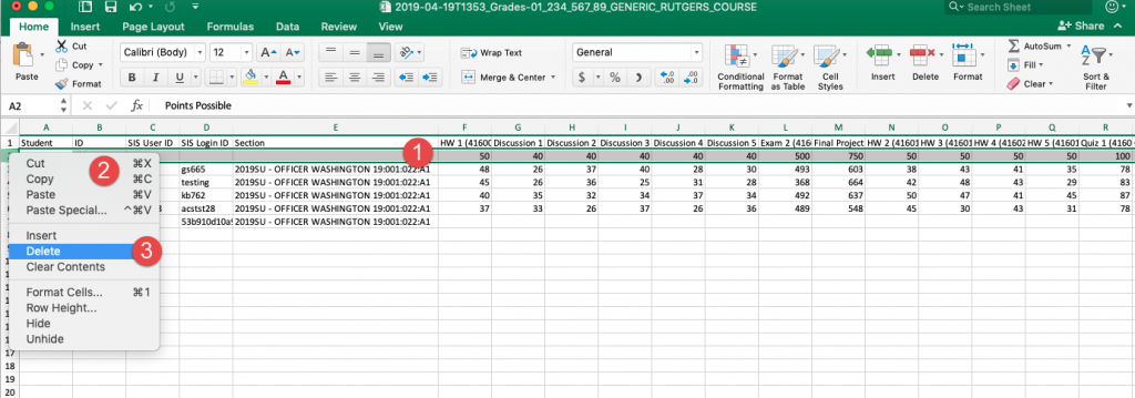 Canvas gradebook export in MS Excel with row highlighted