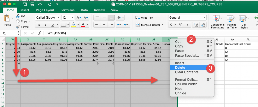 Canvas gradebook export in MSExcel with all assignment columns highlight