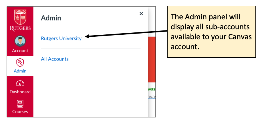 Screenshot displaying the admin menu in the Canvas UI.