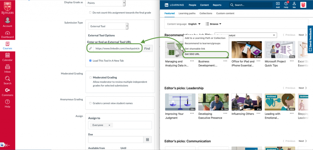 Canvas assignment details browser window next to Linkedin Learning Get SSO URL browser window