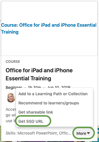 Linkedin Learning course card with more menu and Get SSO URL highlighted