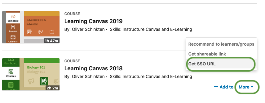 Linkedin Learning content search with more menu and Get SSO URL highlighted