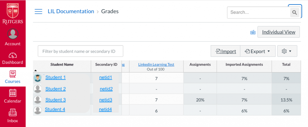 Canvas Gradebook with Linkedin Learning assignment