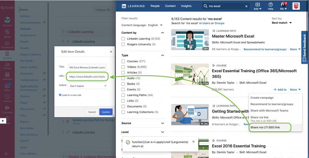 Linkedin learning LTI SSO url is highlighted and Canvas edit item details dialog is open
