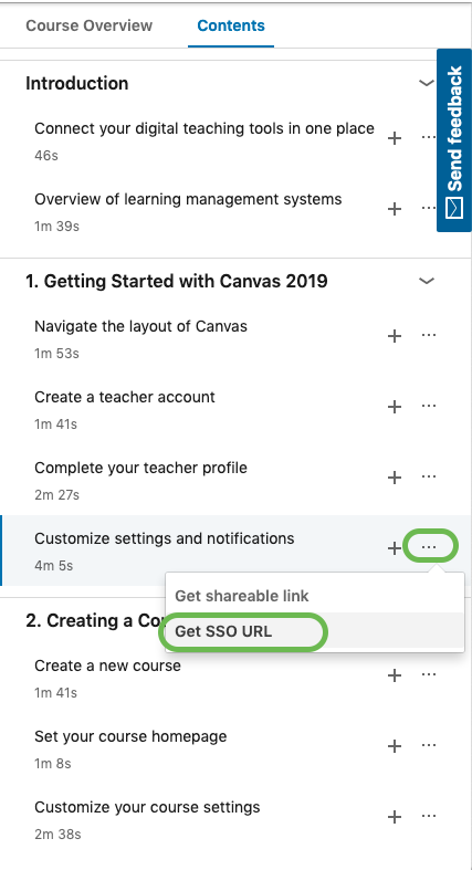 Linkedin Learning contents tab with highlights on video option and Get SSO URL