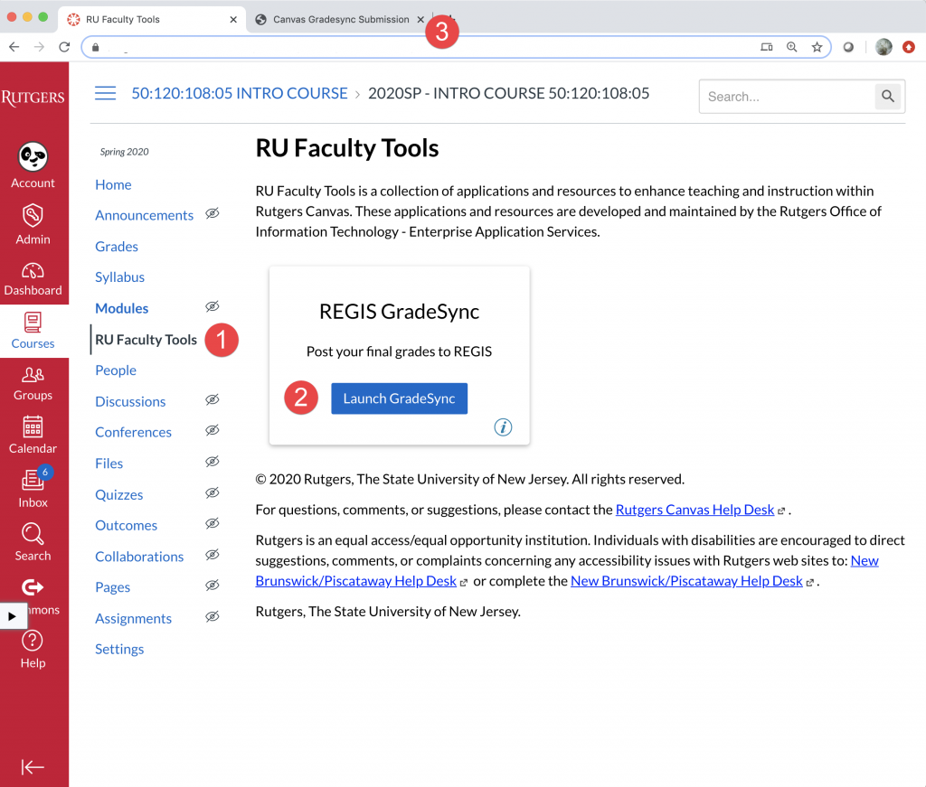 RU Faculty Tools homepage with callouts for course navigation and launch gradeSync