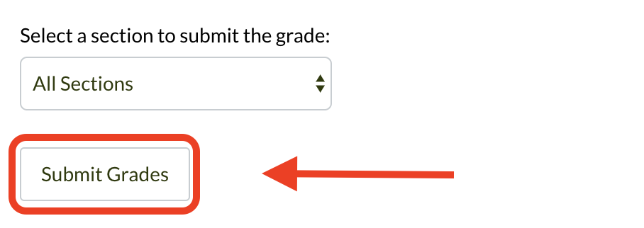 Submit Grades higlighted